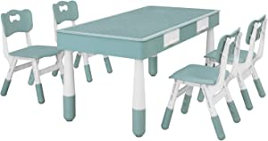 LAZY BUDDY KidsTableand 4ChairsSet, with StorageDrawer, Height AdjustableChair, 2 in 1 Multi Activity PlayBuildingBlocks & Toys, Study & PaintDesk, for Boy Girl