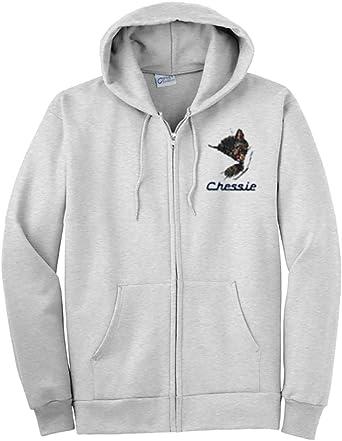 91 Chessie The Sleeping Kitten Zippered Hoodie Sweatshirt