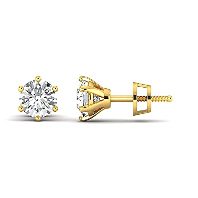 d7ae548a9 Earring Studs 0.3 to 4 Carat Moissanite Stud Earrings (Round Brilliant) 18K  yellow-