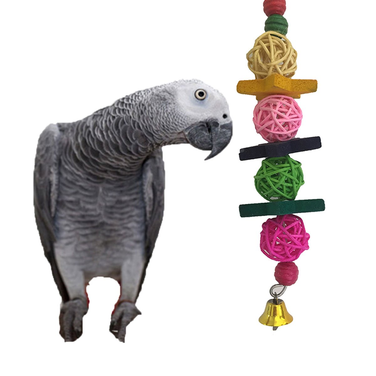 Keersi Colorful Balls Toy for Bird Parrot Macaw African Grey Budgie Parakeet Cockatiel Conure Lovebird Cage Bite Toy