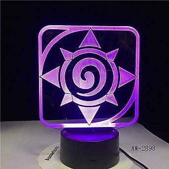 Juego De Lámpara De Luz Nocturna Led 3D Hearthstone 7 Color Cambiante Dormitorio Para Niños Luz Nocturna Sensor Táctil Mesa Lámpara De Escritorio Decoración: Amazon.es: Iluminación