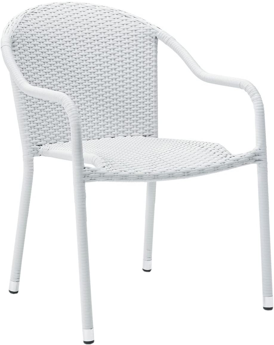 Crosley Furniture CO7137-WH Palm Harbor Outdoor Wicker Stackable Chairs, Set of 2, White