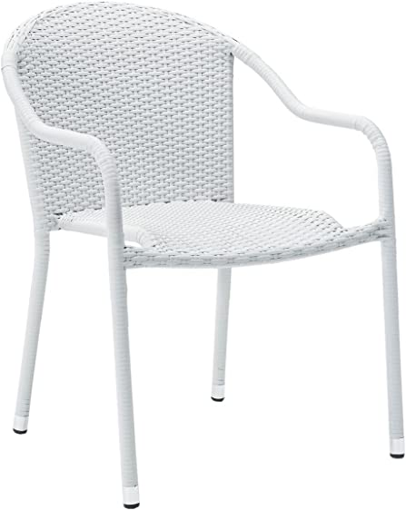 Crosley Furniture CO7137-WH Palm Harbor Outdoor Wicker Stackable Chairs