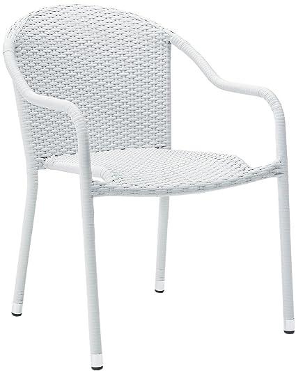 Tremendous Crosley Furniture Palm Harbor Outdoor Wicker Stackable Chairs White Set Of 2 Creativecarmelina Interior Chair Design Creativecarmelinacom