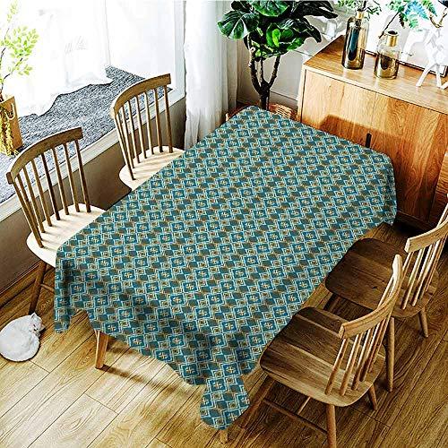 XXANS Custom Tablecloth,Geometric,Abstract Overlapping Diamond Shapes with Symmetric Arrangement,Modern Minimalist,W60x120L Olive Green Aqua Petrol Blue ()