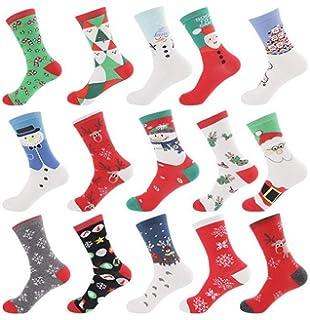 Medias de Navidad, Popoti Calcetines de Algodón Calcetines para Mujer Cómodos Calcetines para Mantener el