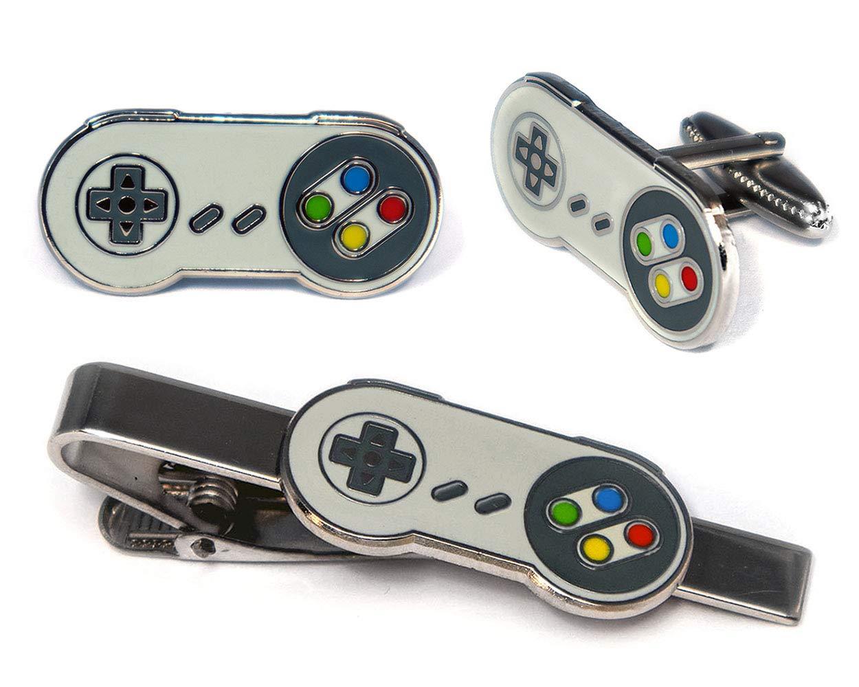 SNES Super Nintendo Tie Clip, NES Nintendo Controller Cufflinks, Retro Gaming Jewelry, SNES Cuff Links, Super Mario Brothers Legend of Zelda Metroid Wedding Groomsman Groomsmen Gifts