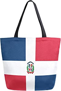 ZZXXB Dominican Republic Flag Reusable Grocery Shopping Bag Heavy Duty Canvas Tote Bag Large Collapsible Washable Handbag Shoulder for Women