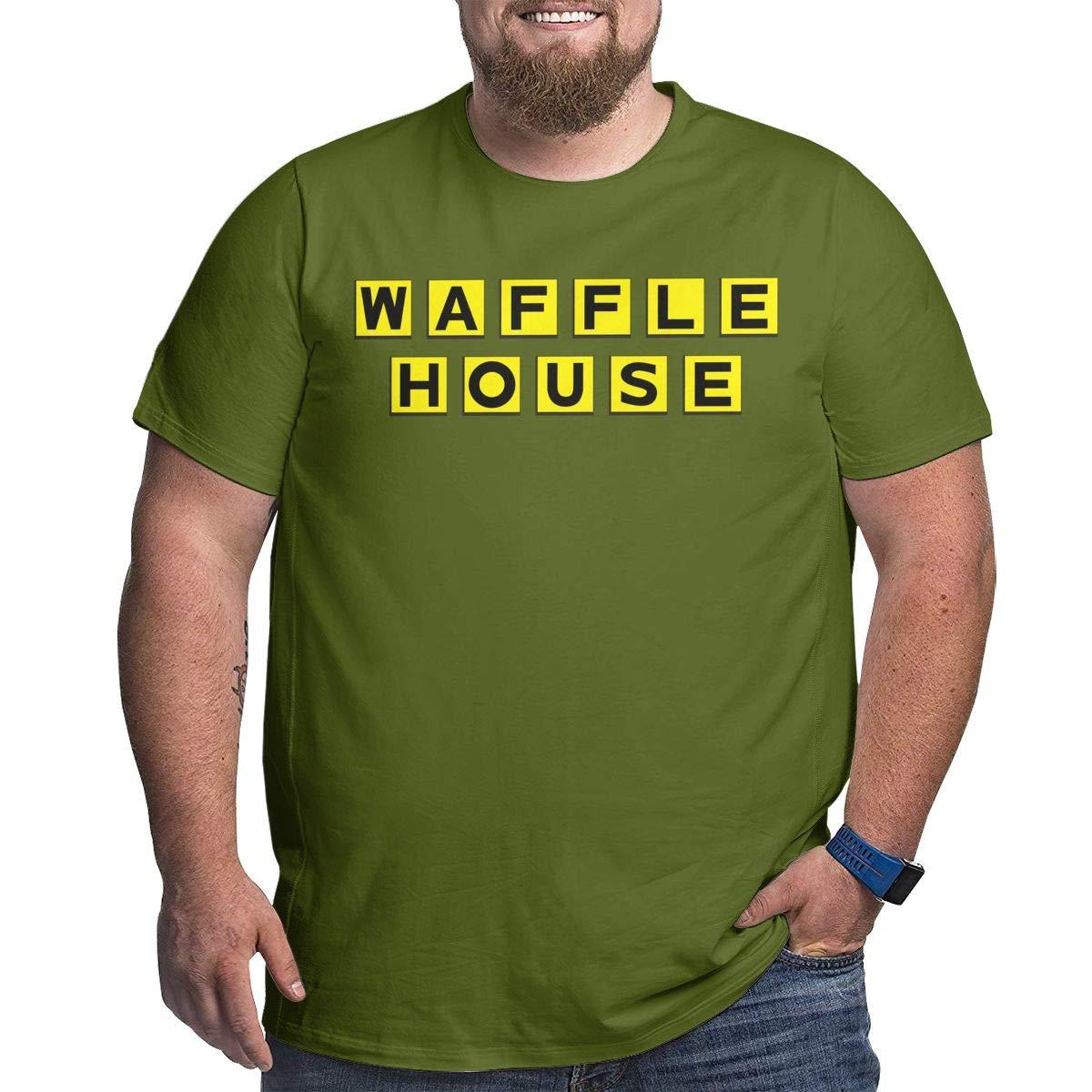 Fat Men's T Shirt Waffle House Logo Tee Shirts T-Shirt Short-Sleeve Round Neck Tshirt for Men Youth Boys Moss Green 4XL by BKashy