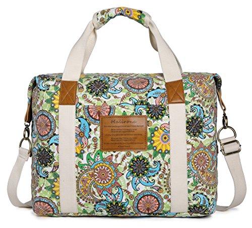 Malirona Ladies Women Canvas Travel Weekender Overnight Carry-on Shoulder Duffel Tote Bag Bohemian Flower Green Flower