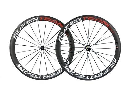 2253ab87b79 Superteam Carbon Fiber Road Bike Wheels 700C Clincher Wheelset 50mm Matte  23 Width (3D Red