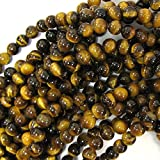 "Femitu 8mm Natural Tiger Eye Round Gemstone Beads 15.5"" Strand"
