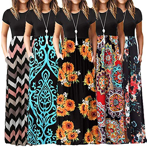telaite Women's Pocket Dress Casual Long Dresses Boho Beach Dress Summer Floral Print Maxi Dress