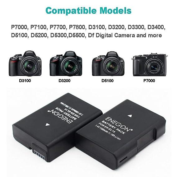 EN-EL14/EL14a Batteria sostitutiva (2 pezzi) e caricabatterie Dual USB per Nikon EN-EL14/14a e Coolpix P7000 P7100 P7800 DSLR D3100,D5100,D5500,D5600