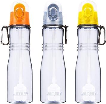 Botella de agua deportiva Jetery con filtro, botella de agua ...