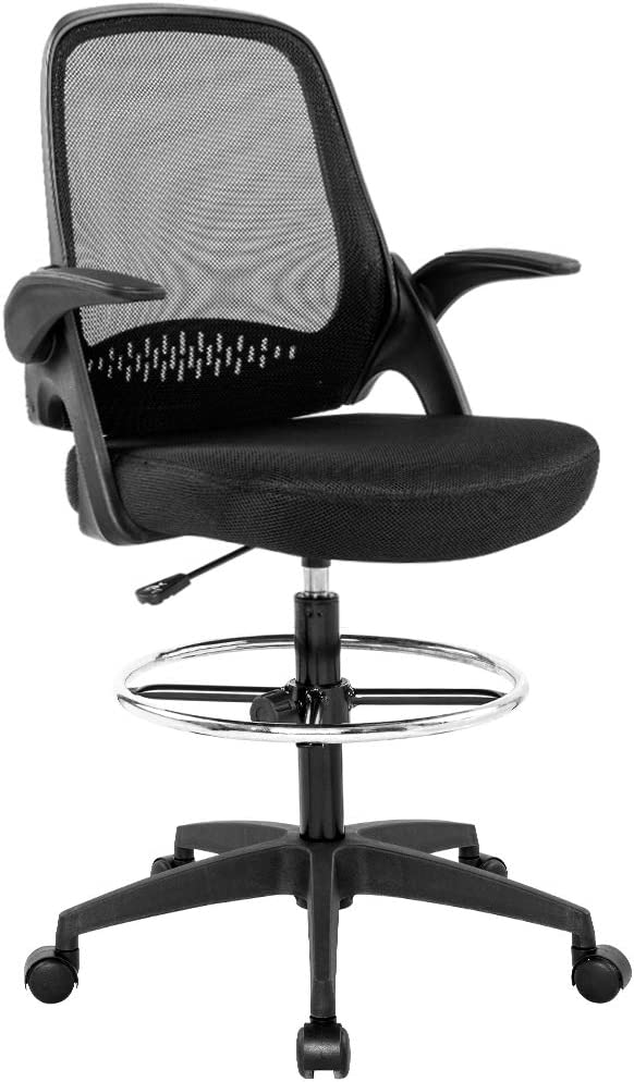 Amazon Com Drafting Chair Tall Office Chair Desk Chair Mesh Computer Chair Adjustable Height With Lumbar Support Flip Up Arms Swivel Rolling Executive Chair For Standing Desk Furniture Decor