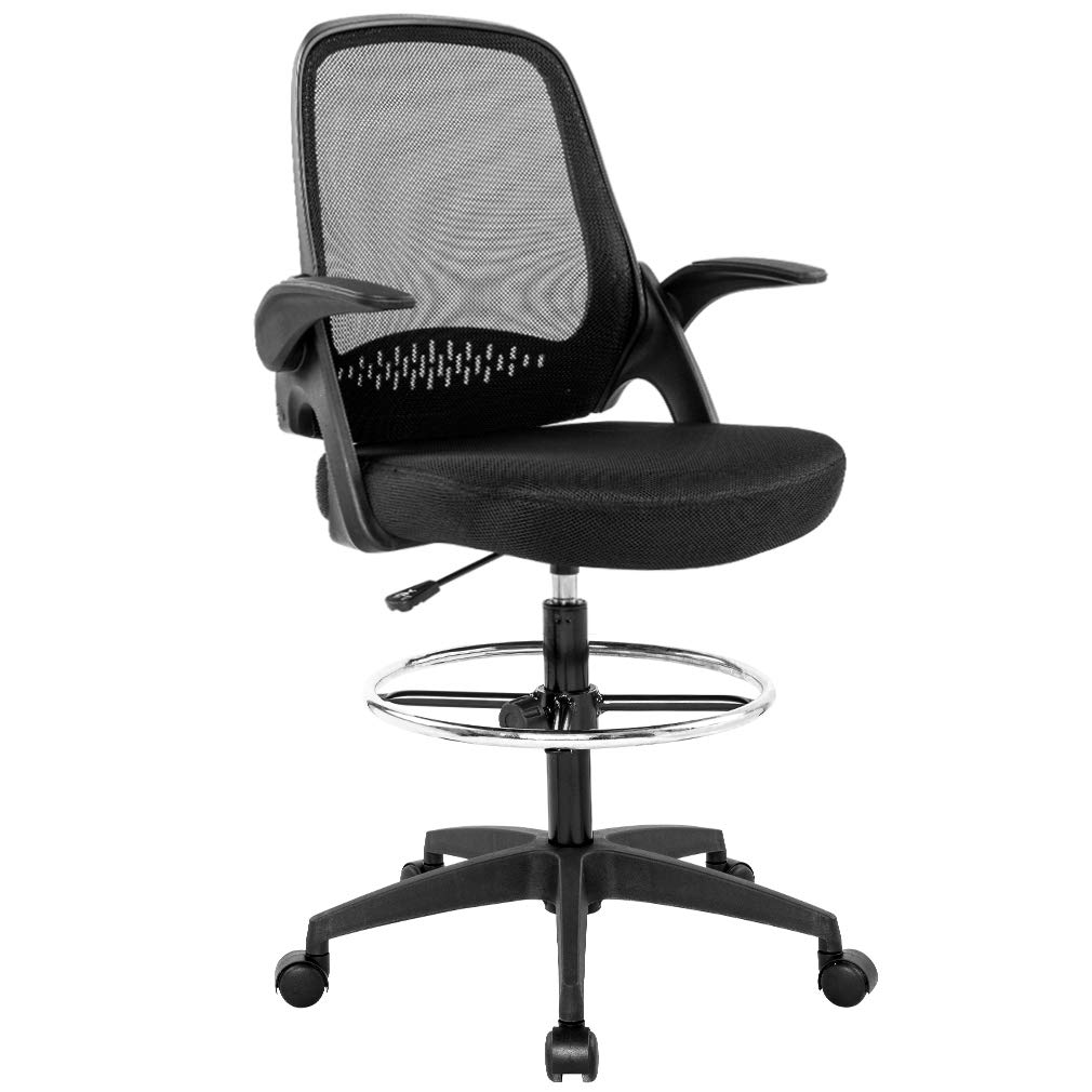 Drafting Chair Tall Office Chair Desk Chair Mesh Computer Chair Adjustable Height with Lumbar Support Flip Up Arms Swivel Rolling Executive Chair for Standing Desk by BestOffice