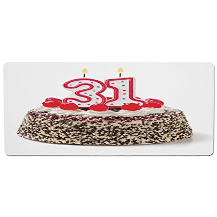Mouse Pad Unique Custom Printed Mousepad 31st Birthday DecorationsCake Thirty One Candles Chocolaty