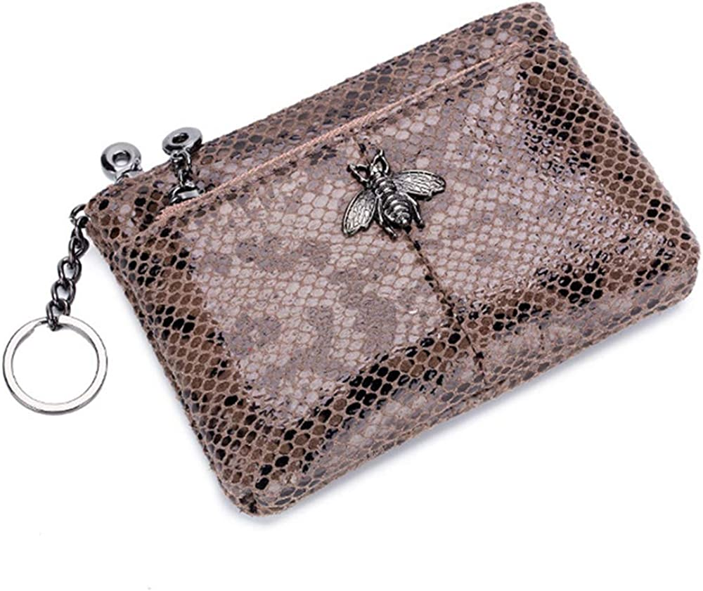 Aladin Leather Little Bee Hardware Design Serpentine Fashion Double Zipper Coin Purse Change Coin Wallet Gray
