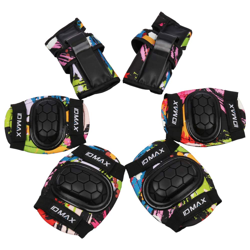 ID MAX Kids Protective Gear Set, Child Knee Pads Elbow Pads Wrist Guard 6 in 1 with Adjustable Strap for Rollerblading Roller Skates BMX Skateboard Inline Skatings Bike Scooter Riding Sports