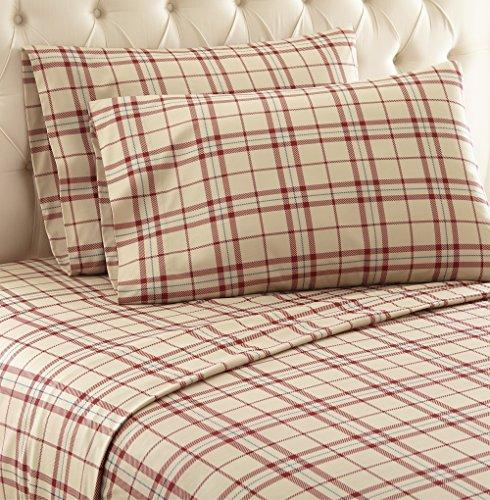 Thermee Micro Flannel Shavel Home Products Sheet Set, Fashion Plaid/Tan, Twin (Plaid Sheet Set)