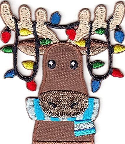 moose wchristmas lights iron on embroidered applique xmas animals
