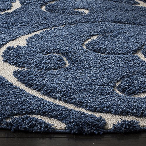 Safavieh Shag Collection Sg455 6511 Dark Blue And Cream