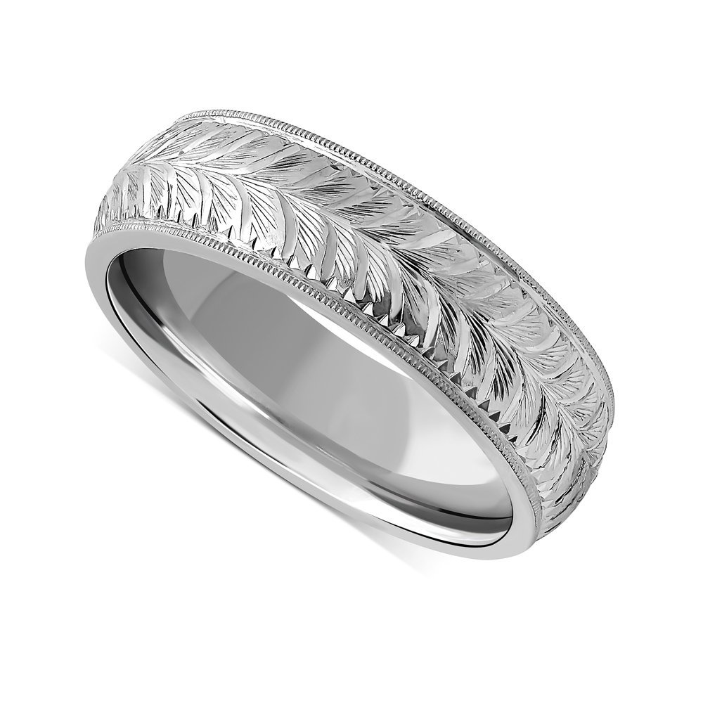 This is a photo of Amazon.com: Platinum Wheat Pattern Engraved Vintage Mens Wedding