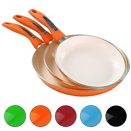 Jago - Juego de 3 sartenes con recubrimiento de cerámica en color naranja