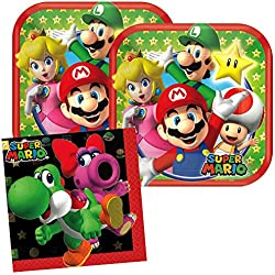 Cedar Crate Market Super Mario Party Supplies Pack for 16 Guests Includes: 16 Dessert Plates and 16 Beverage Napkins,Red, Green, Yellow