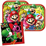 paper super mario - Cedar Crate Market Super Mario Party Supplies Pack for 16 Guests Includes: 16 Dessert Plates and 16 Beverage Napkins,Red, Green, Yellow