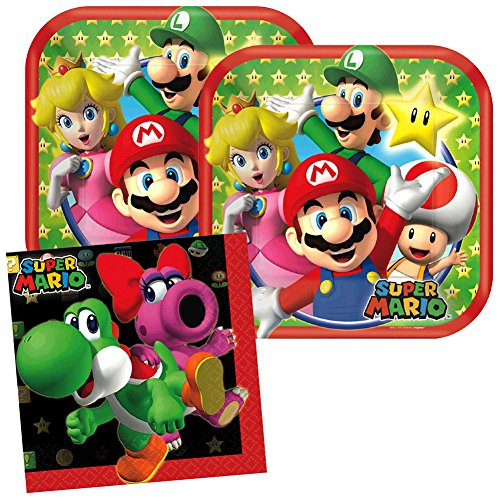 Cedar Crate Market Super Mario Party Supplies Pack for 16 Guests Includes: 16 Dessert Plates and 16 Beverage Napkins,Red, Green, Yellow -