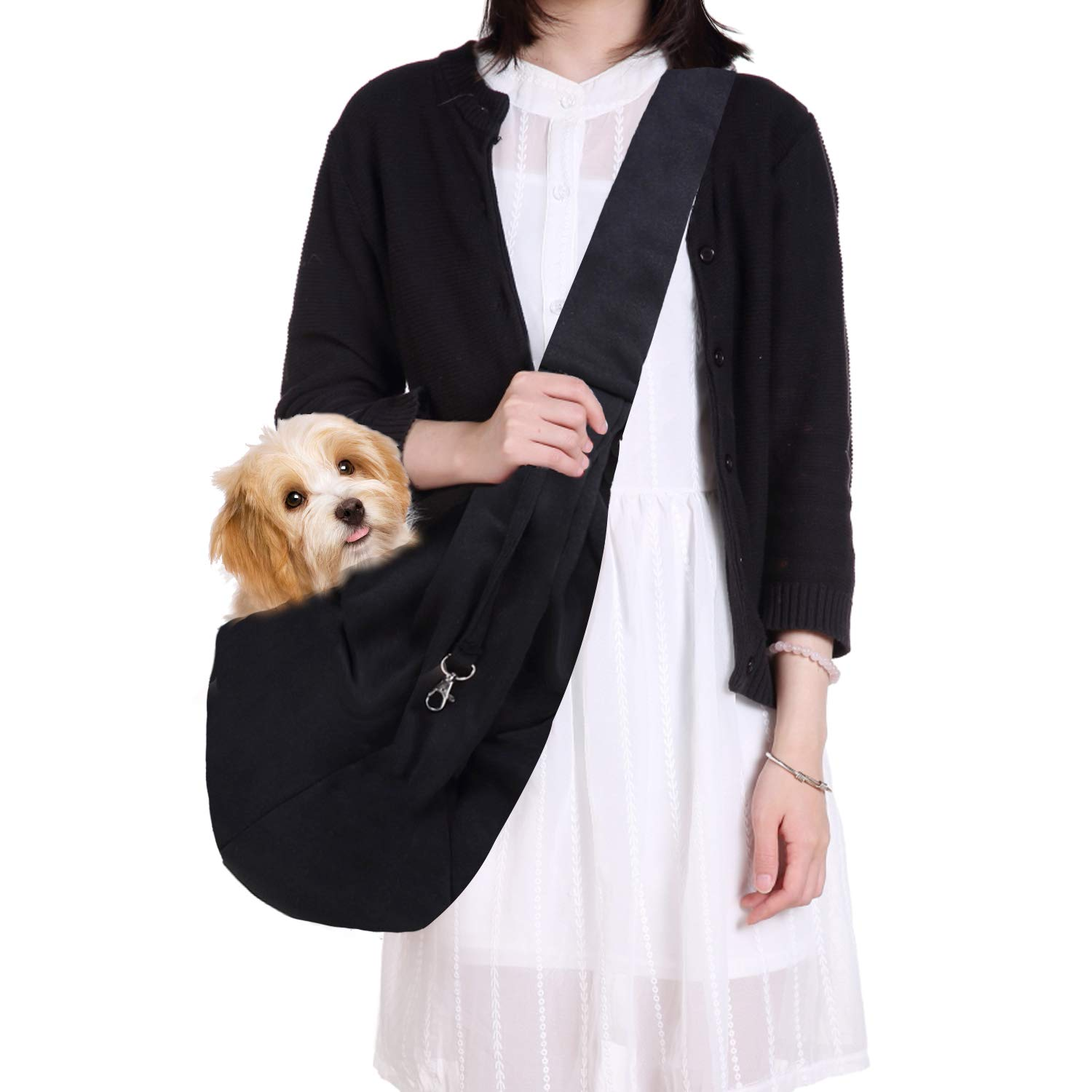 Black swee Hands-Free Reversible Pet Dog Cat Sling Carrier Bag Travel Tote Soft Comfortable Puppy Kitty Rabbit Double-Sided Pouch Shoulder Carry Tote Handbag (Black)