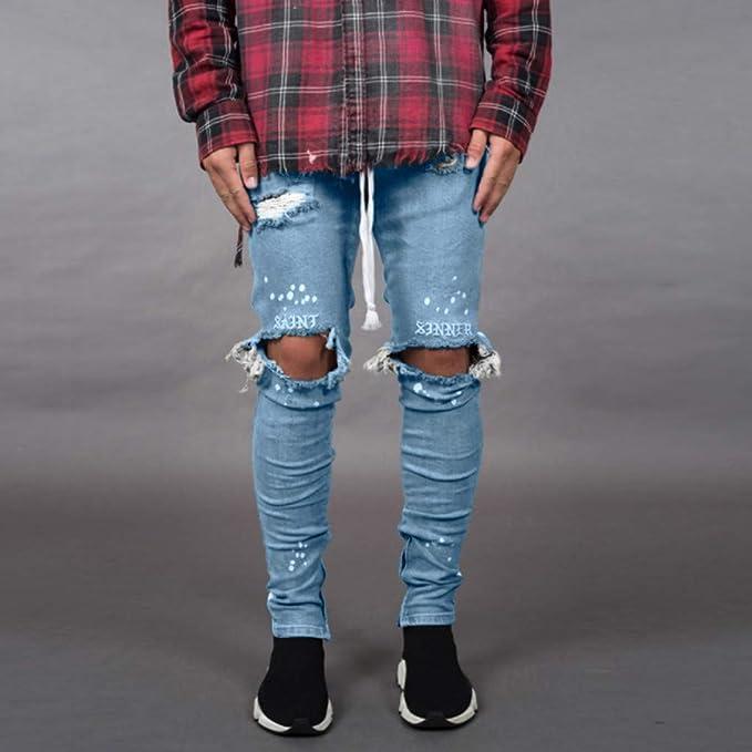 Jeans Ajustados Hombre Rotos Pantalones Mezclilla EláSticos Slim ...