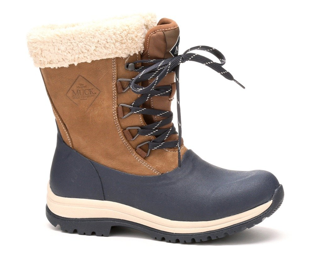 Muck Boot Women's Arctic Lace Mid Snow Boot, Otter, Navy/Fog, 6 M US