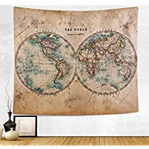 HAOCOO New Art Stylish Pattern Wall Hanging Tapestry for Bedroom / Living Room / Dorm Accessories (51 x 60 Inch, Vintage World Map)
