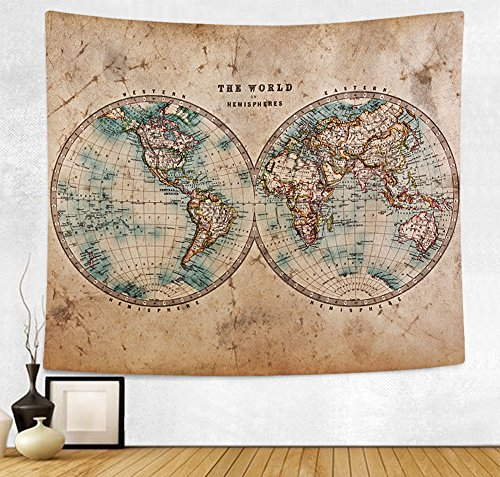 HAOCOO New Art Stylish Pattern Wall Hanging Tapestry for Bedroom / Living Room / Dorm Accessories (51 x 60 Inch, Vintage World Map) (Shop Hanging Wall Tapestry)