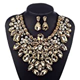 3 Colors Costume Statement Necklace for Women Jewelry Fashion Necklace 1 Set with Gift Box (Champagne)
