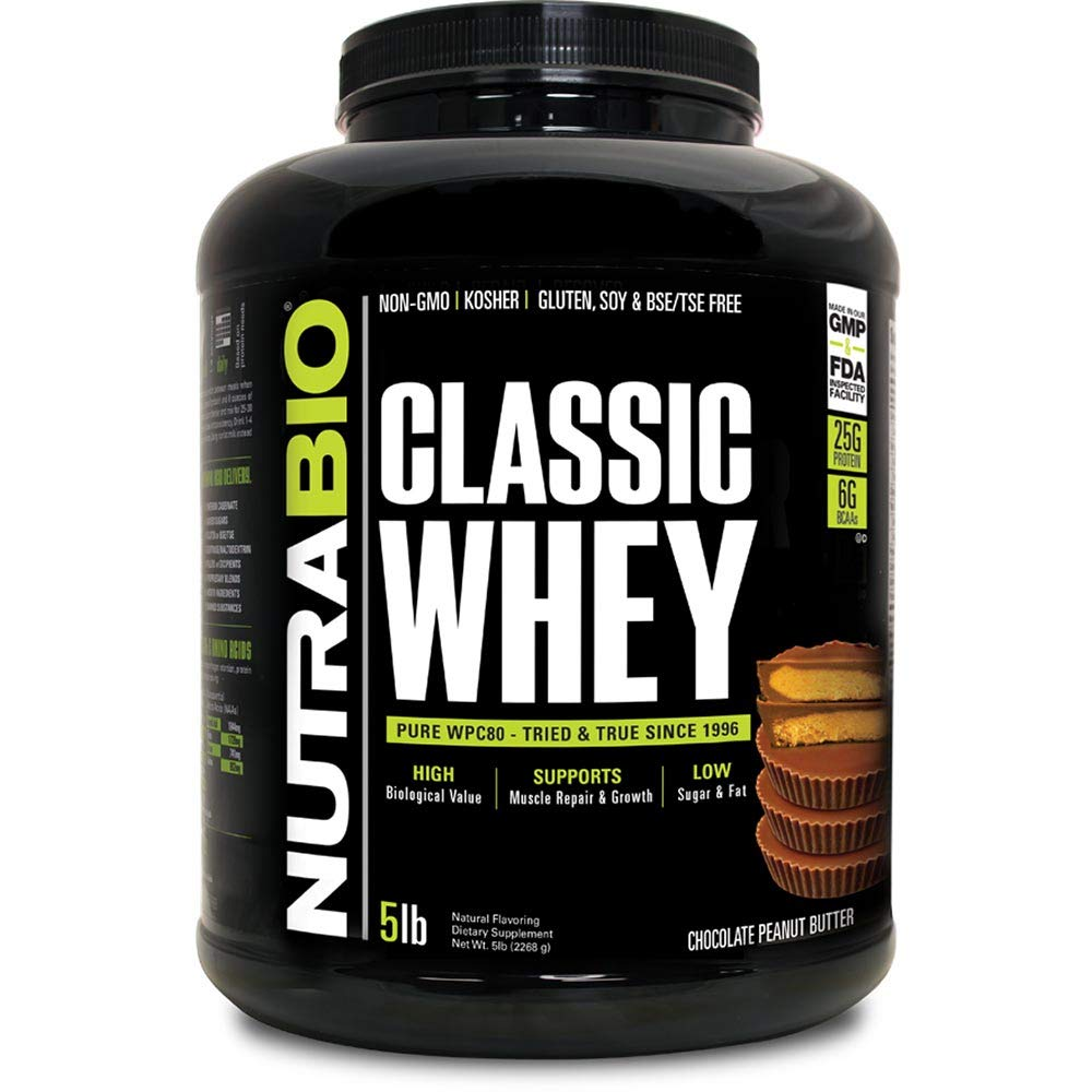 NutraBio Classic Whey Protein – 5 pounds Chocolate Peanut Butter