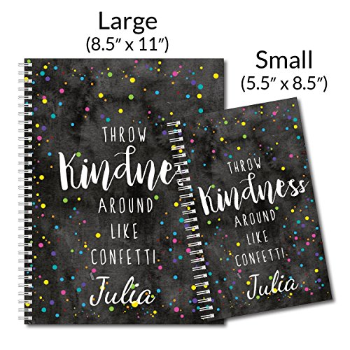 Confetti Personalized Inspirational Spiral Notebook/Journal, 120 College Ruled or Checklist Pages, durable laminated cover, and wire-o spiral. 8.5x11 | 5.5x8.5 | Made in the USA Photo #4