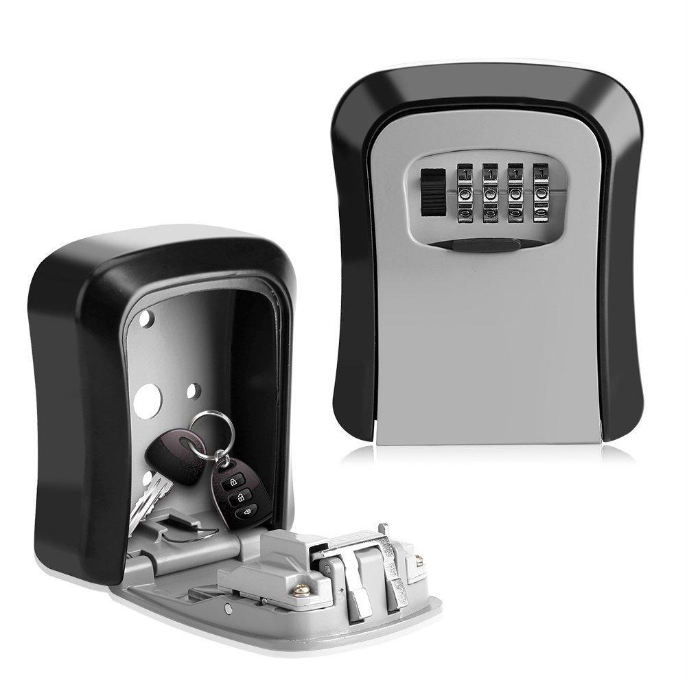 Key Storage Lock Box,4-Digit Key Safe Security Storage Lock Box Combination Lock Box Wall Mount Organizer for Home Garage School Spare House Keys