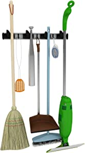 Mop, Broom & Tool Holder- Perfect for your Garage or Basement- Garden Tool Storage- Laundry Room Organization- Mops, Brooms, Dusters & More-Wall Mounted Aluminum Organizer- For Home & Commercial Use