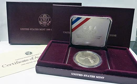 United States Mint 1988-S Olympic Coin Silver Dollar Proof Set w// Box /& COA