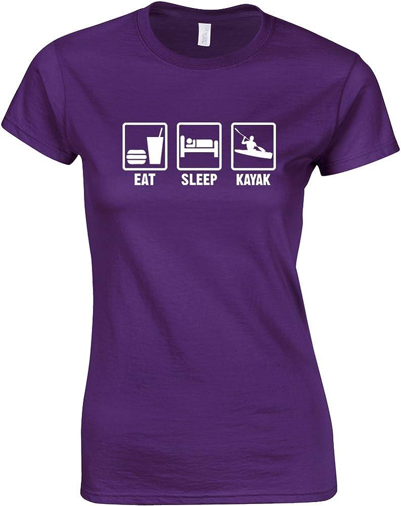 Ladies Printed T-Shirt Eat Sleep Kayak