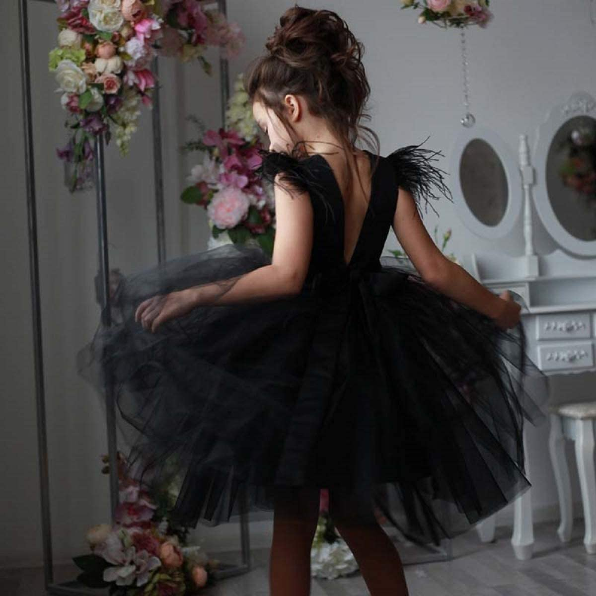 HEVECI Black Pageant Dresses for Girls 7-16 Short Knee Length Todder Party Prom Dress with Feathers