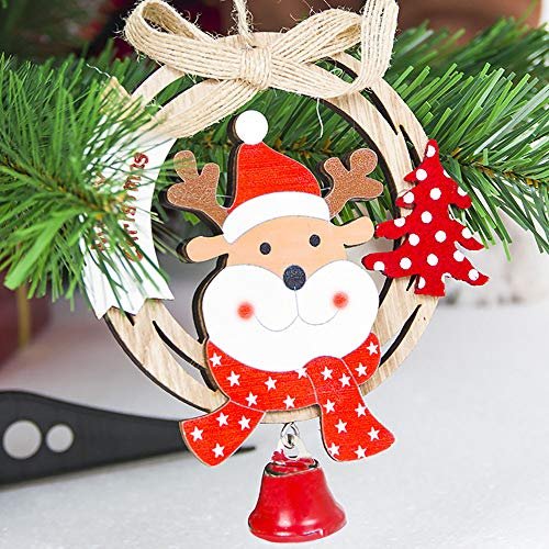 Hot Sale!DEESEE(TM)Cute Santa Clause Bow Bell Christmas Tree Ornament Decoration Wooden Snowman Elk Hanging Pendant Christmas Decorations for Home (C)