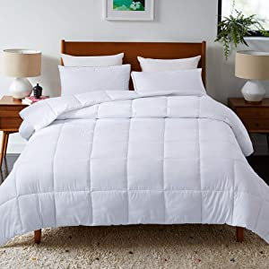 DOWNCOOL Down Alternative Quilted Comforter- White Lightweight Duvet Insert or Stand-Alone Comforter with Corner Duvet Tabs, Full/Queen 88x92Inches