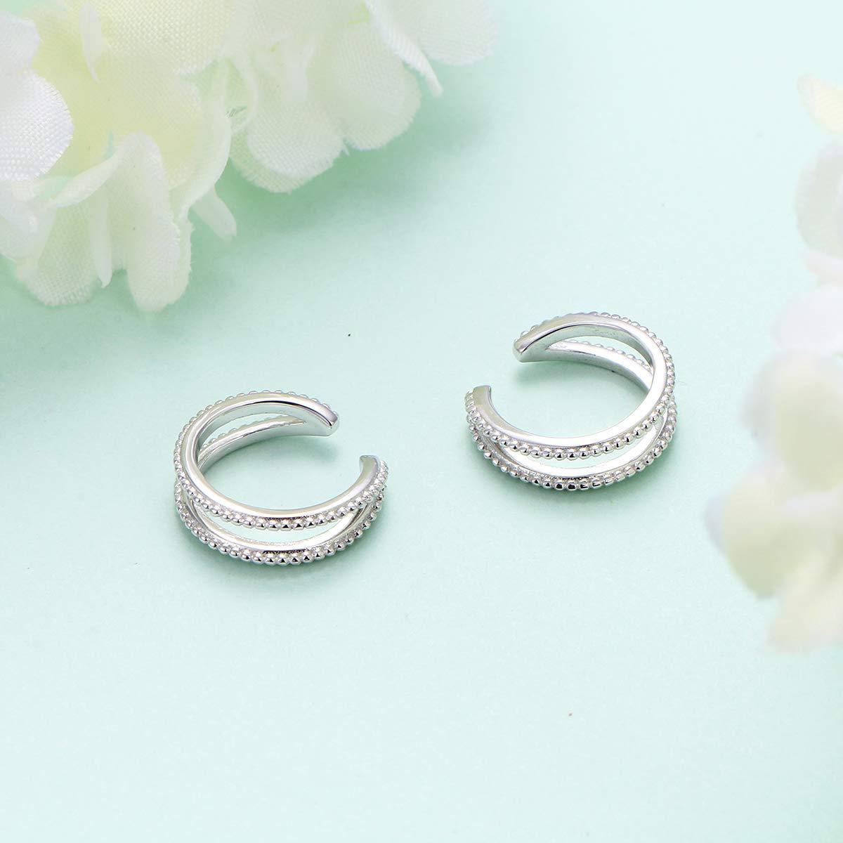 Set of 2 925 Sterling Silver Ear Cuff Non Pierced Cuffs Hoop Huggie Earrings for Women Girls
