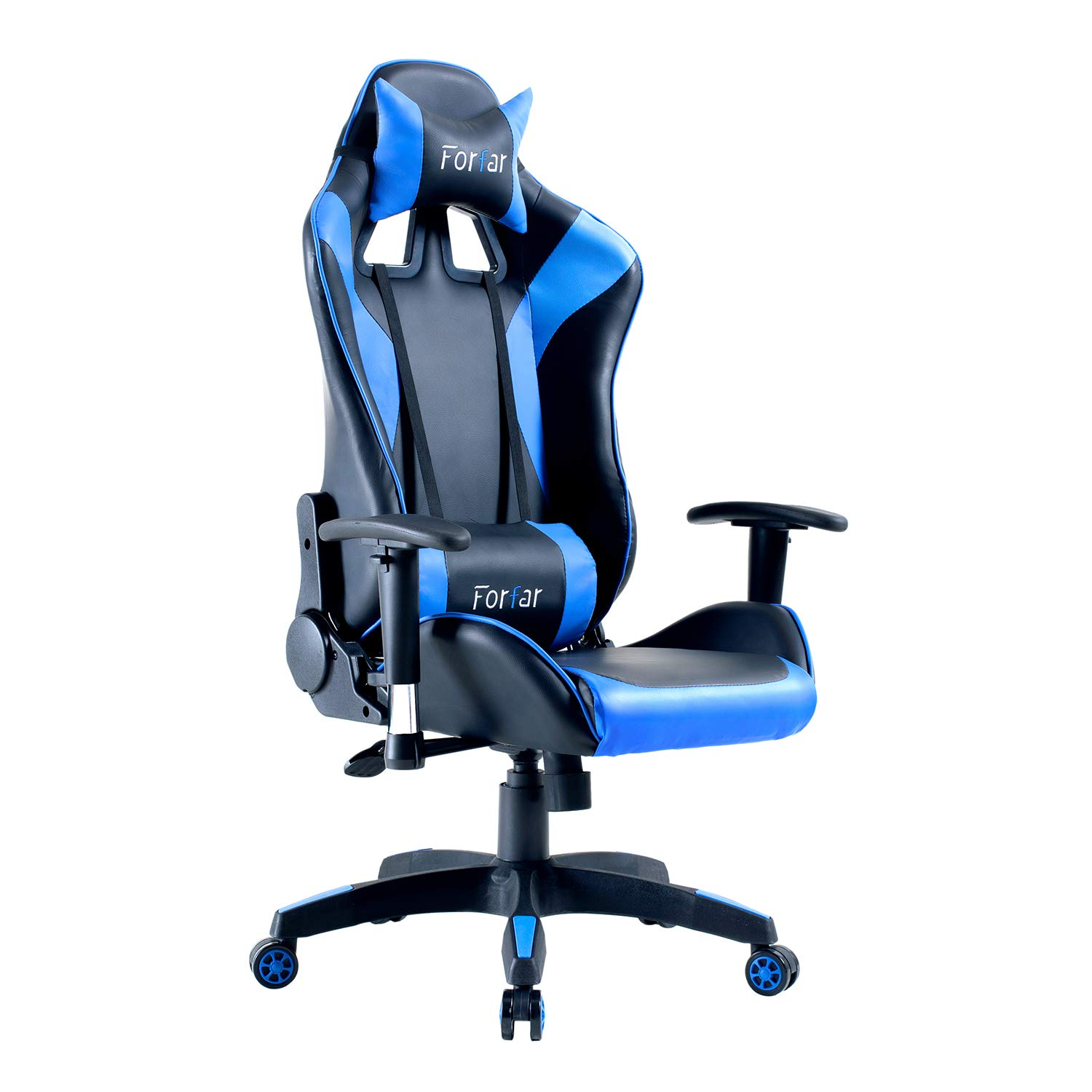Forfar Gaming Chair Racing Office Computer Game Chair Red Ergonomic Backrest and Seat Height Adjustment Recliner Swivel Rocker with Headrest and Lumbar Pillow E-Sports Chair Blue Black