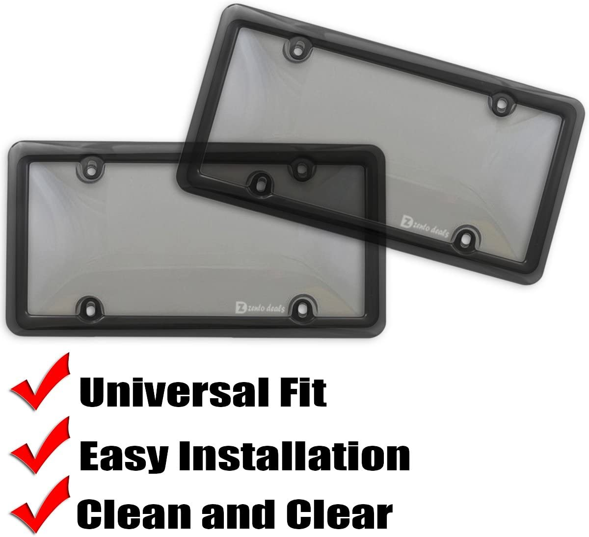 Combo Shield Premium Quality License Plate Clear Smoked Black Bubble Shield and Frame GA45 Zento Deals Clear Smoked License Plate Cover and Frame